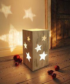 Leuchte Sternenlicht Holz Holzlampe Sterne Laterne Tischlampe Dekoleuchte Lampe Weihnachtsdekoration Basteln Weihnachten Weihnachtsdeko