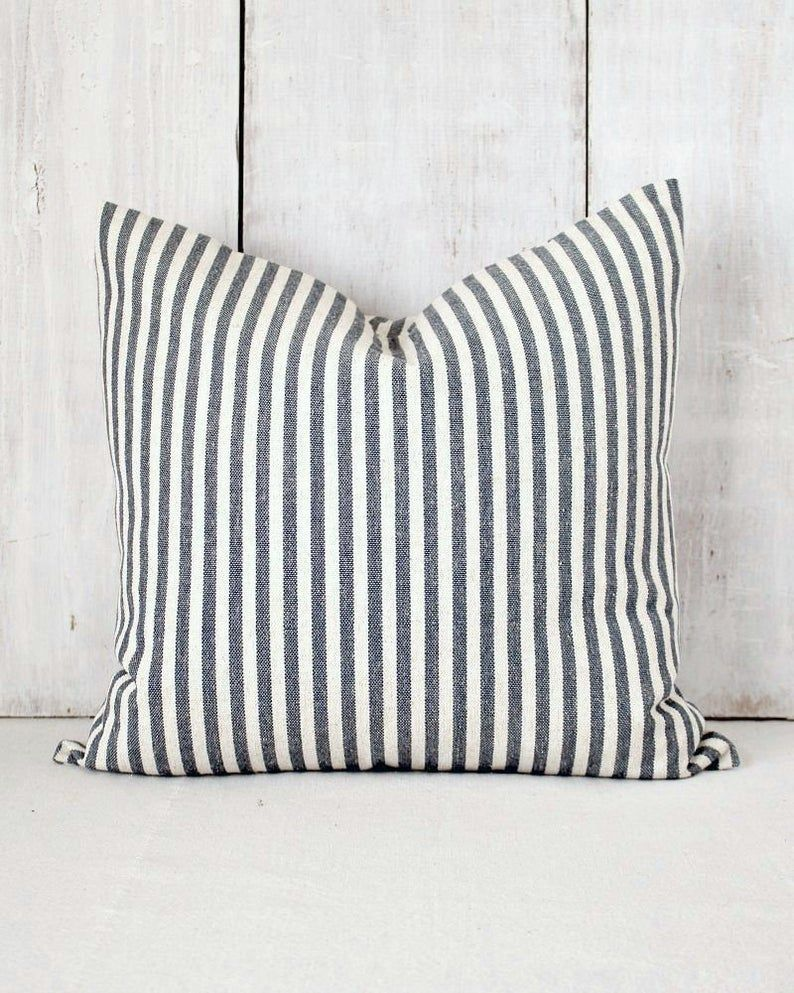 French Farmhouse Throw Pillow Cover Denim Blue Striped Etsy In 2020 Farmhouse Throw Pillow Blue Striped Pillow Stripe Throw Pillow