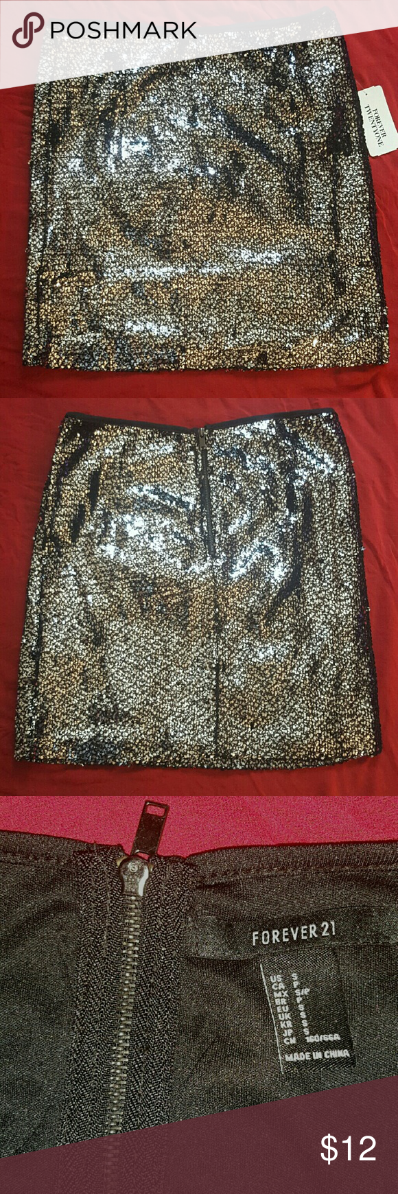 NWT Forever 21 Sequin Mini Skirt Black With Gunmetal Gray Sequins All