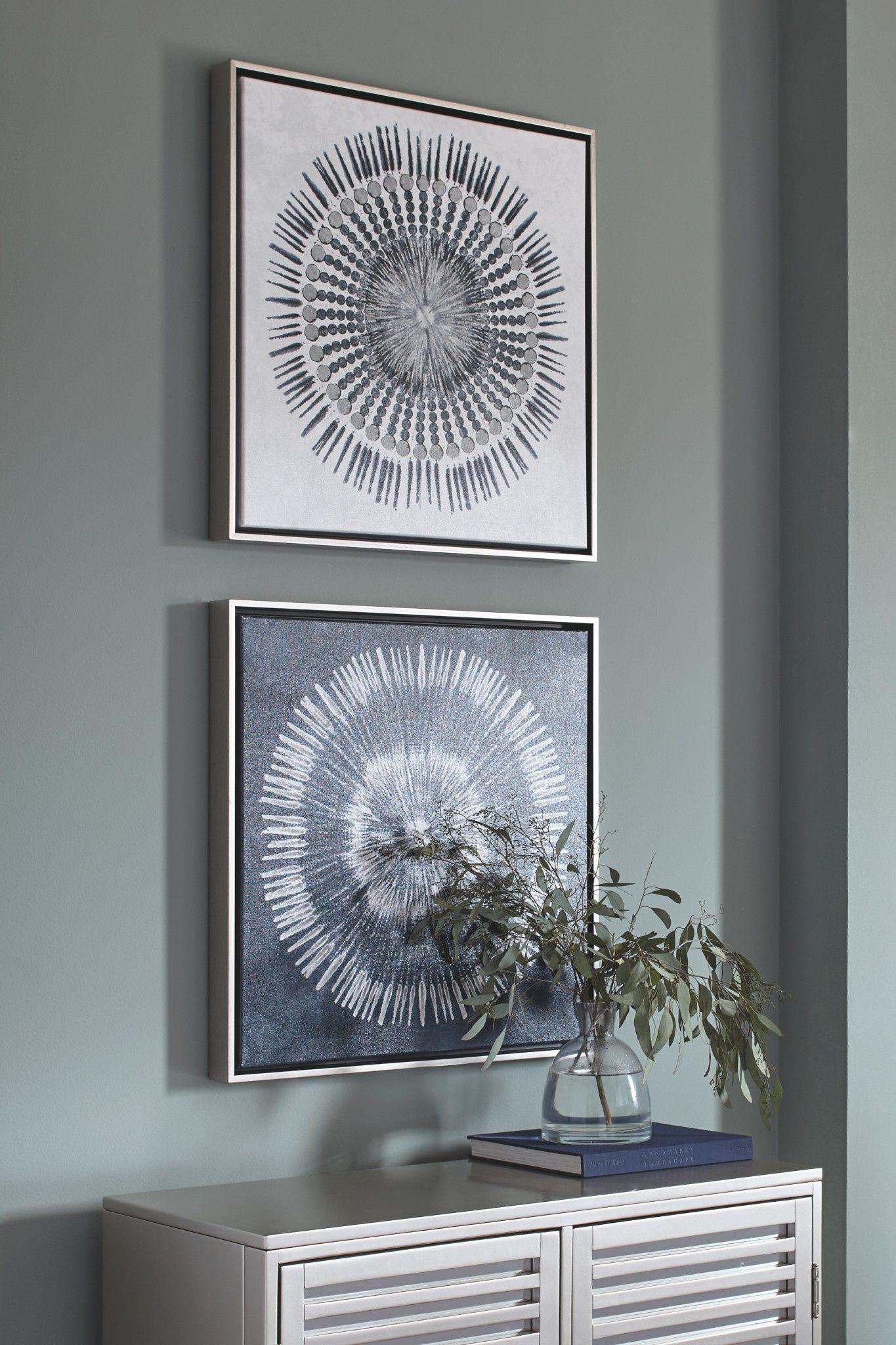 Ashley A8000155 Wall Art Set Monterey Blue White Blue Wall Art Frames On Wall White Wall Art