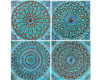Decorative Tiles For Wall Set Of 3 Wood Wall Tiles Wall Sculpturesjeemadodecor On Etsy