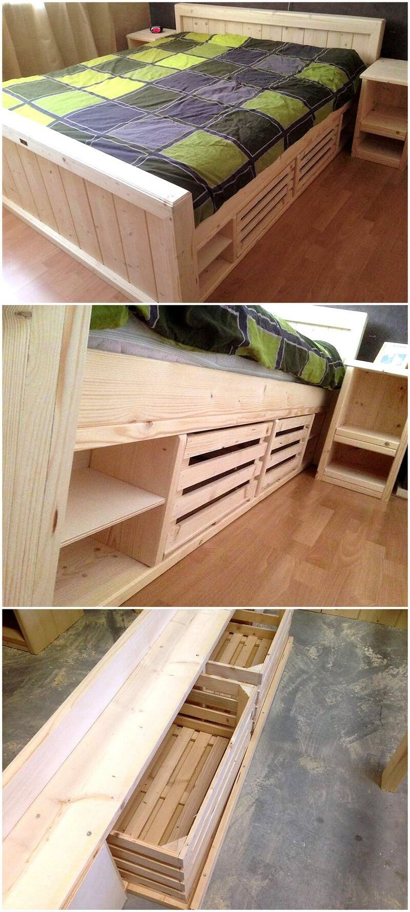 Pallets wooden giant bed bedroom in pinterest pallet