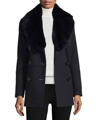 Marfield+Wool-Blend+Coat+w/Detachable+Fur+Collar,+Black+by+Burberry+London+at+Bergdorf+Goodman.