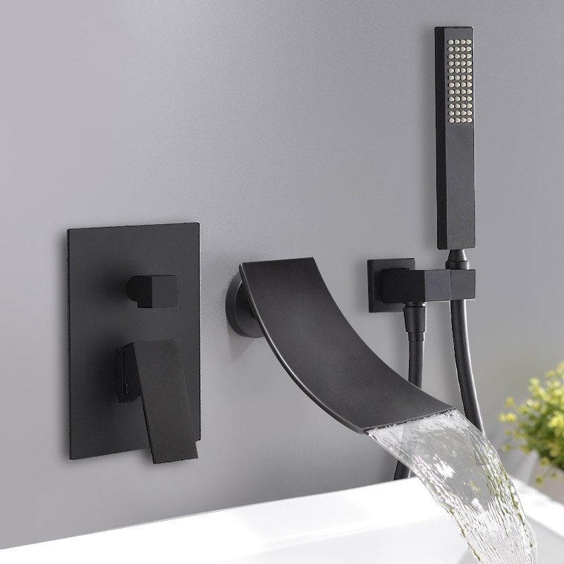 Modern Waterfall Wall Mount Tub Filler Faucet Single Handle Handshower In Matte Black Waterfall Tub Faucet Tub Faucet Wall Mount Faucet