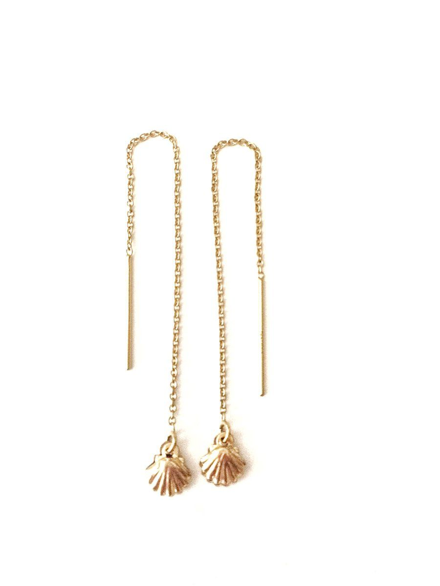 14K Gold Filled Threader  Earring with cable chain,
