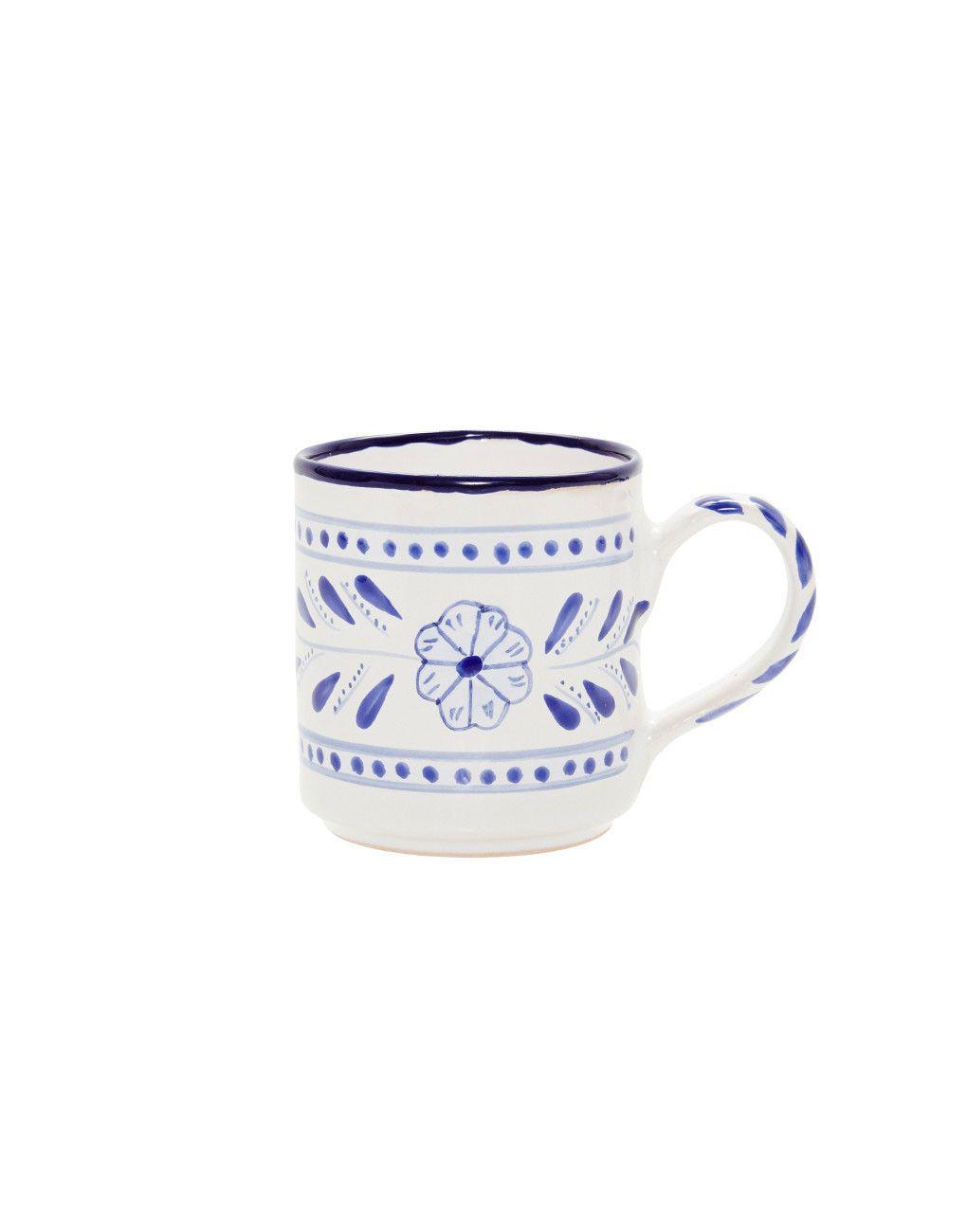 Fair Trade Hand-painted Tunisian Ceramic Coffee, Tea Mug | Blue Floral – The Little Market
