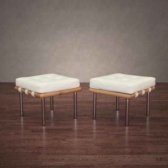 Andalucia Modern White Leather Ottoman Set Of 2 Bench Coffee Footstool Doesnotly