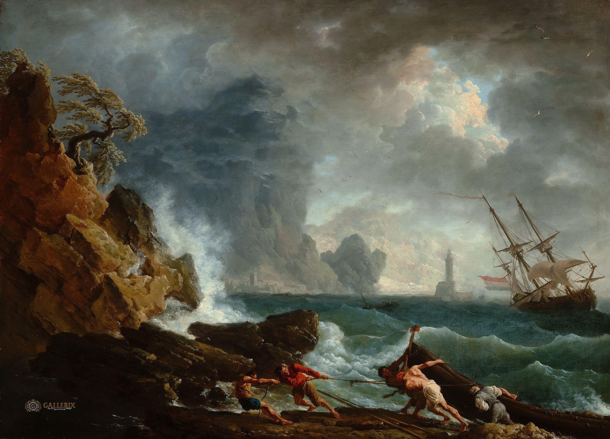 Claude Vernet Mountain Landscape With Approaching Storm Vintage Fine Art Print