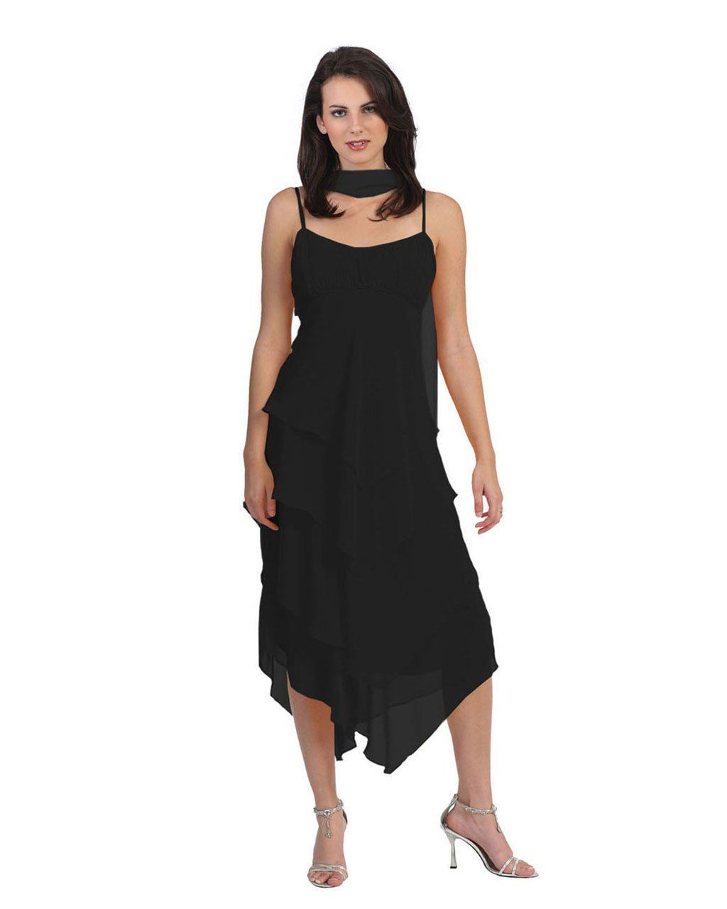 Black dropdown multi layered sheering covered long evening dress