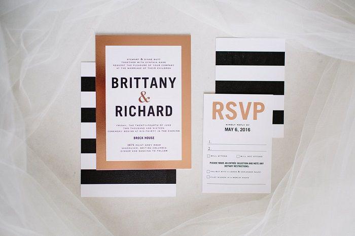 Modern black , white and gold striped wedding invitations for garden wedding   fabmood.com
