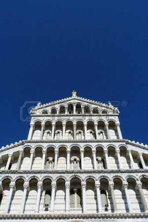 Detail of the facade of the Cathedral of Pisa, Italy
