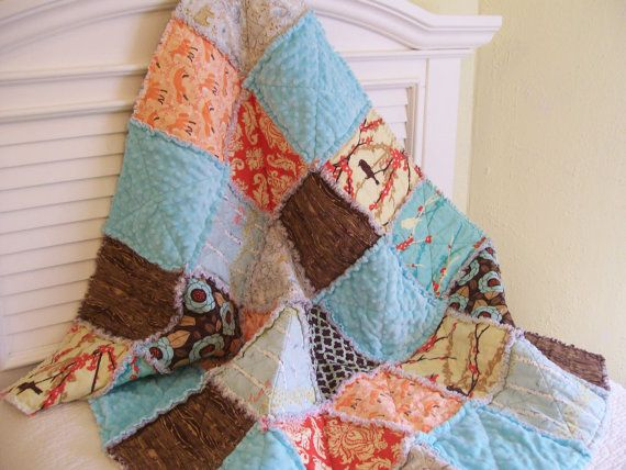 Woodland Creatures Baby Quilt Aqua Brown Orange by CottageDome, $98.00