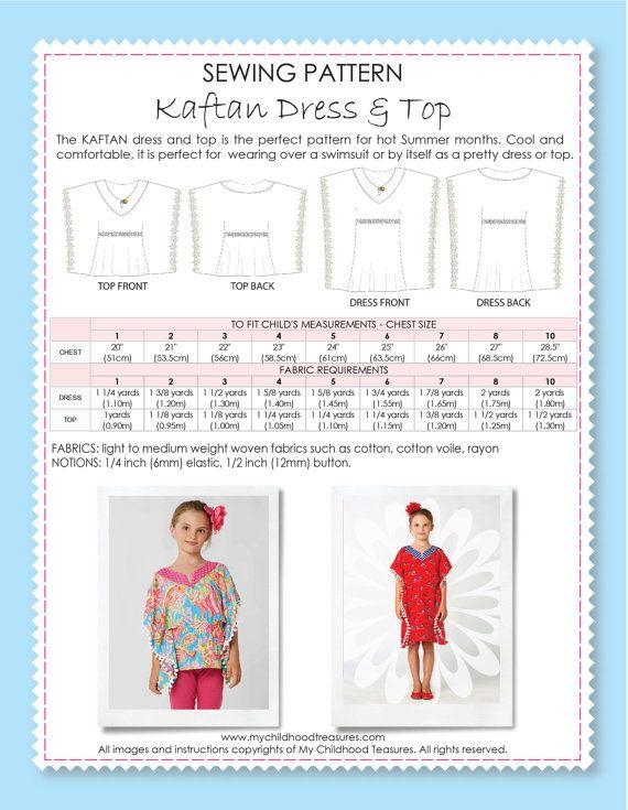 Kaftan Top Pattern 8-15 year by Dresscrafts PDF Pattern Digital Download