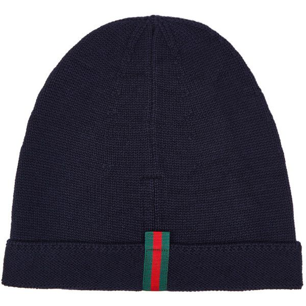 715fdec02 Gucci Navy Fine-knit Wool Beanie ($250) ❤ liked on Polyvore ...