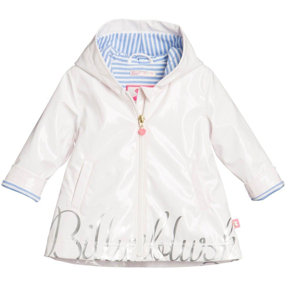Billieblush Baby Girls White Raincoat with Hood at Childrensalon ...