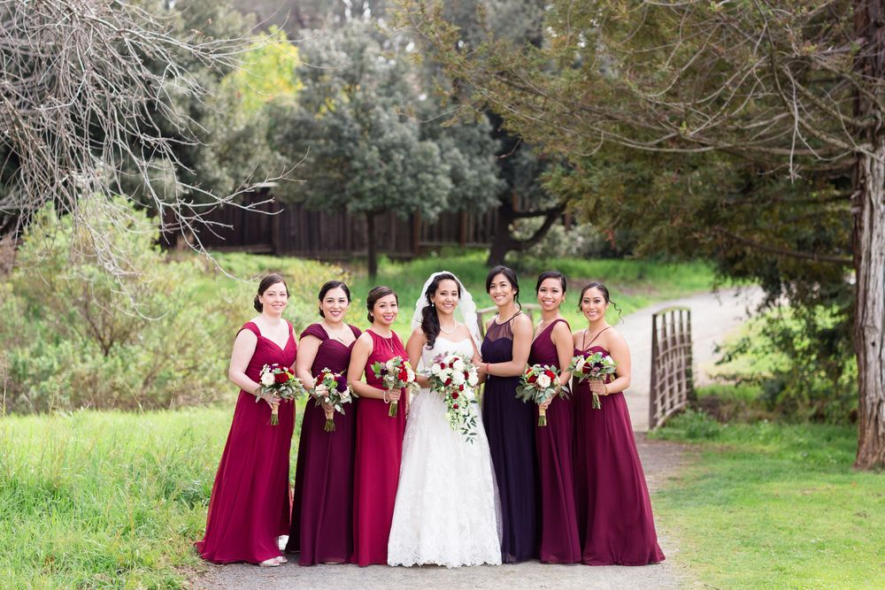 Bride and Bridesmaids Shades of Burgundy | bay-area-wedding-photographer-canyon-view