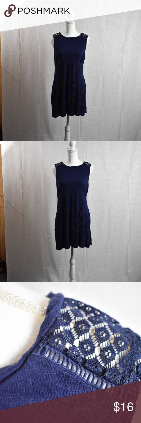 975fdb39d588 Charming Charlie Tank Dress - Size Medium Charming Charlie Jersey Knit dress  Lace Decal on the Shoulder Seam Navy Blue, Soft, Flowy Charming Charlie  Dresses ...