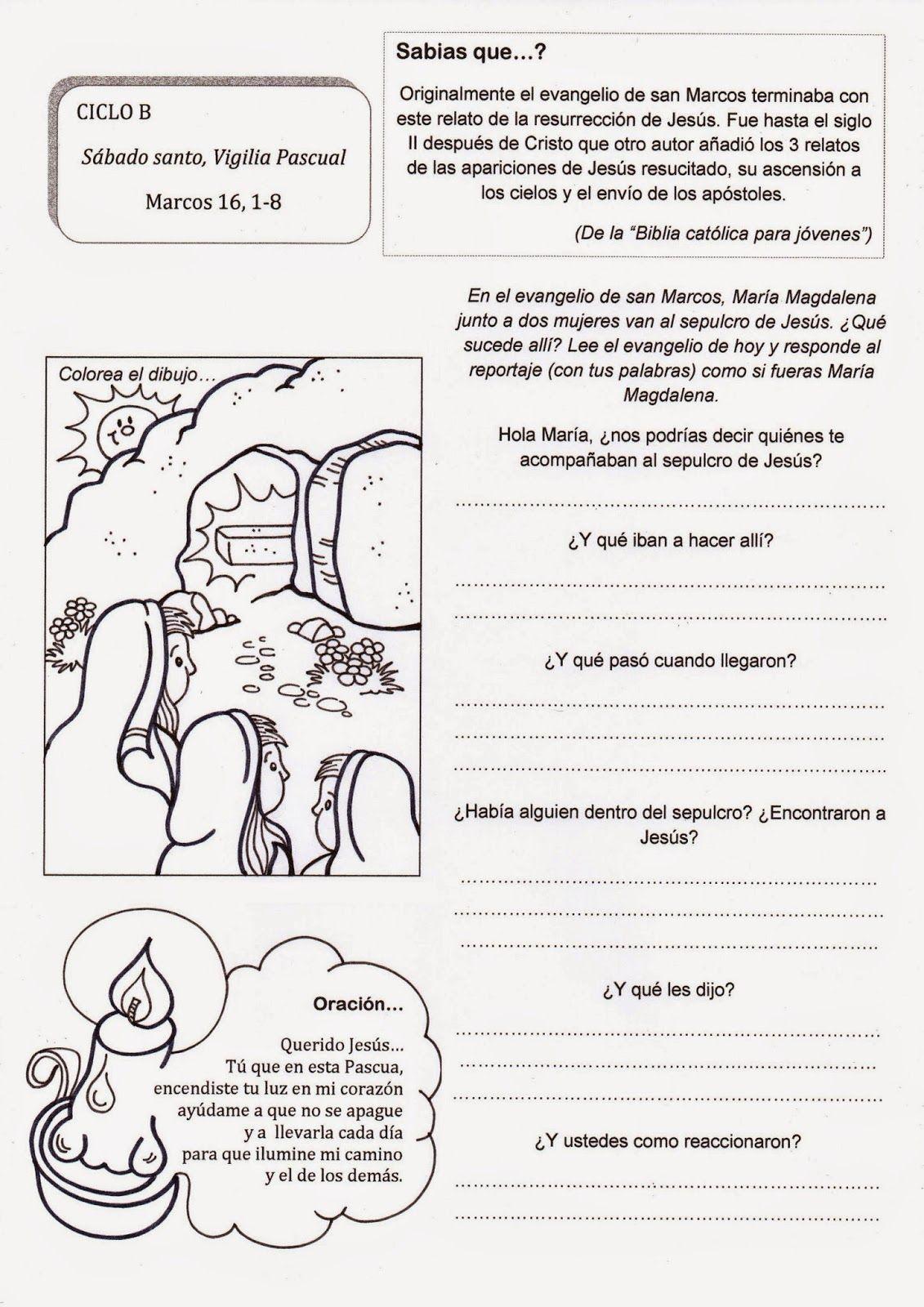 Sábado Santo Vigilia Pascual Ciclo B Temas De Catequesis Catequesis Manualidades De Iglesia Para Niños