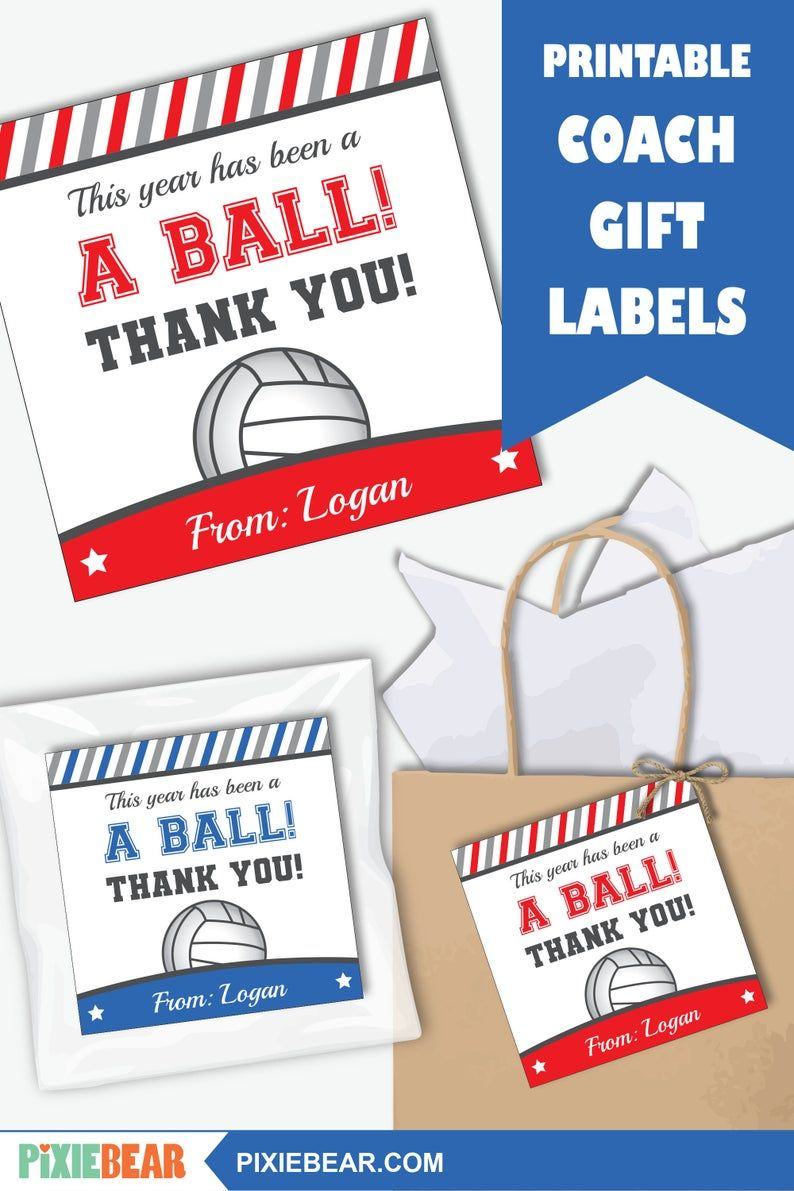 Volleyball Coach Card Printable Teacher Appreciation Tag Or Etsy In 2020 Teacher Appreciation Printables Gift Tag Template Personalized Thank You Cards