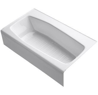 "Kohler K-714 Villager Collection 60"" Three Wall Alcove Bath Tub with Extra 4"" Ledge and Right Hand Drain Image"