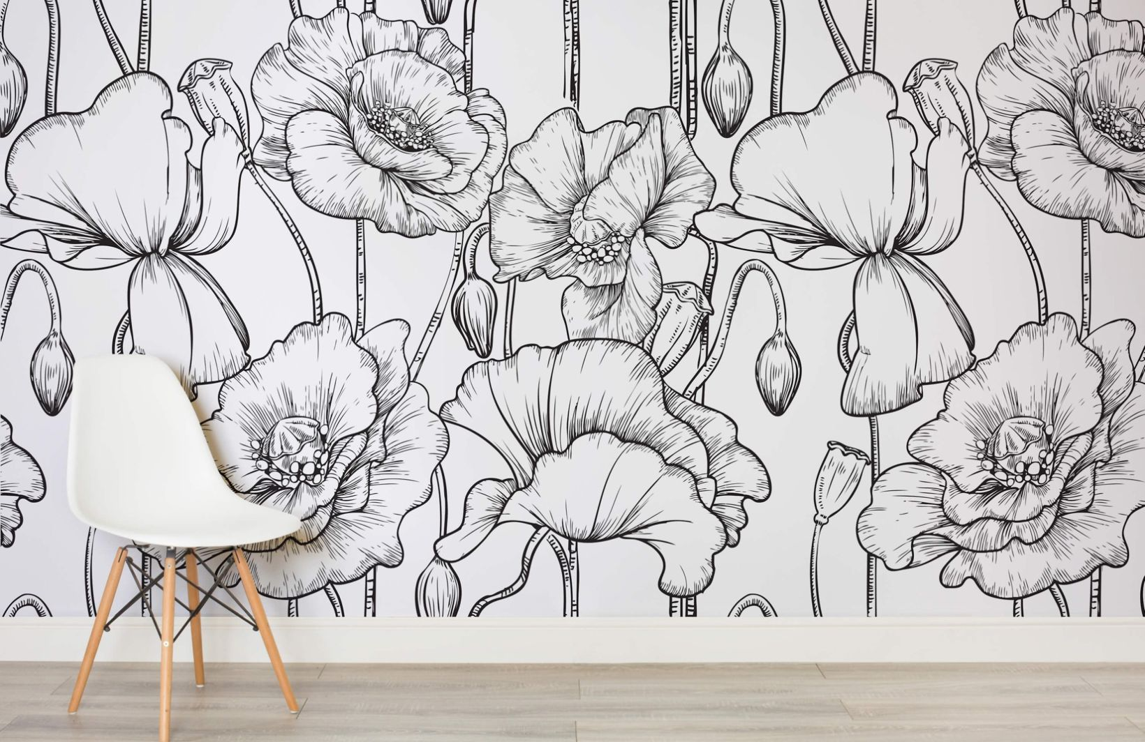 Black and White Illustrated Flowers Mural in 2020 White