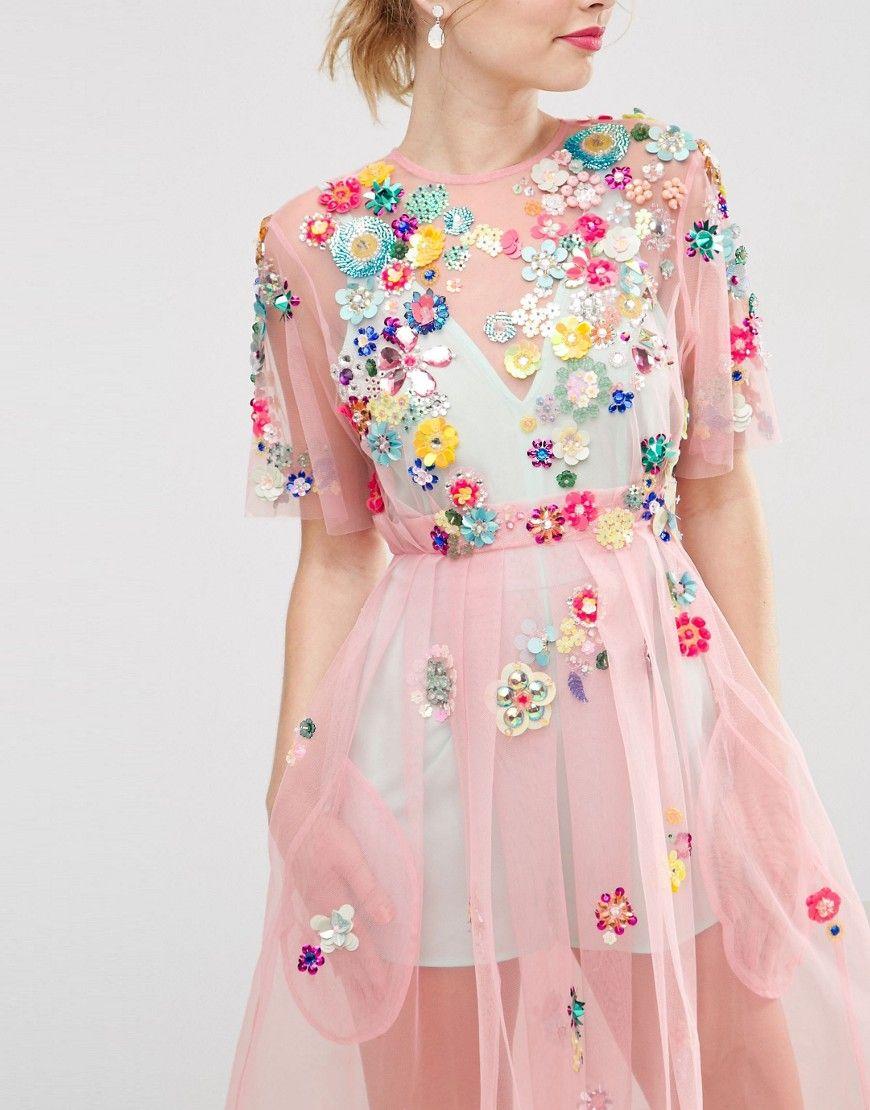 Imagen 3 de Vestido a media pierna con adornos y flores 3D de ASOS ...