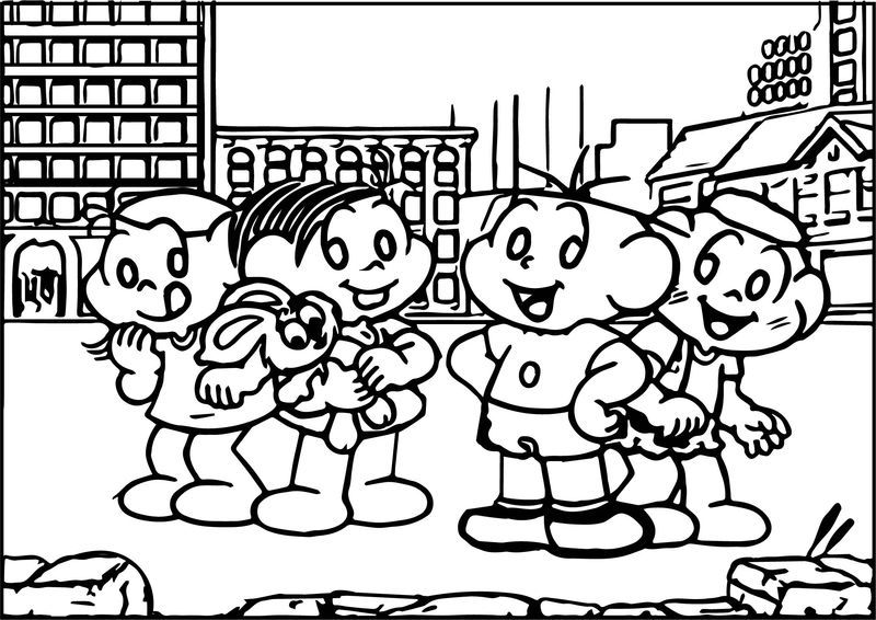 Turma Da Monica And Friends At Street Coloring Page See The