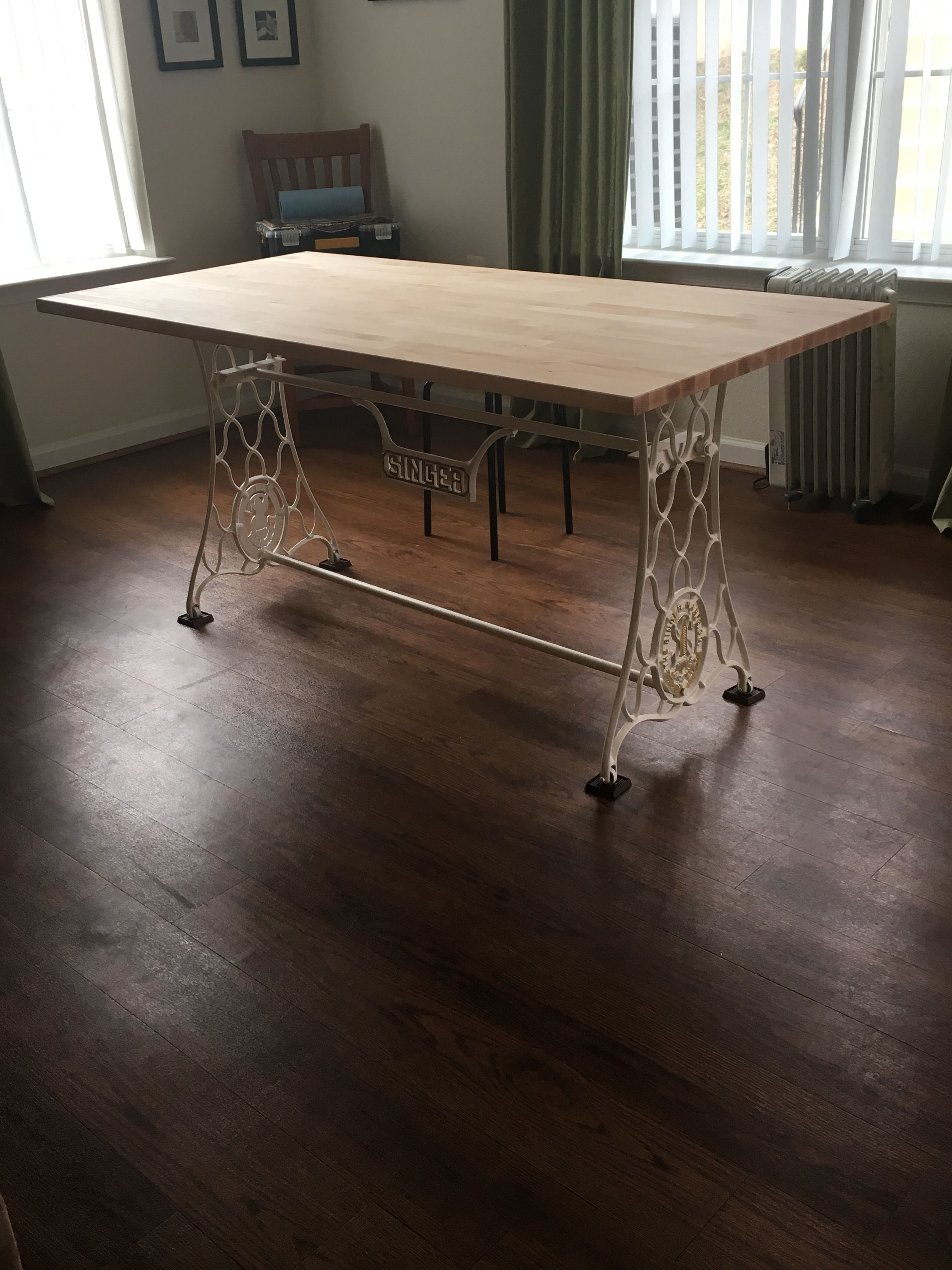 Singer Dining Table Singer Sewing Base And Ikea Table Top Ikea Table Tops Sewing Table Repurpose Dining Table
