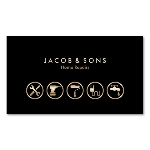 Home Repairs Gold Icons Business Card Zazzle Com In 2021 Construction Business Cards Business Card Icons Business Cards Creative