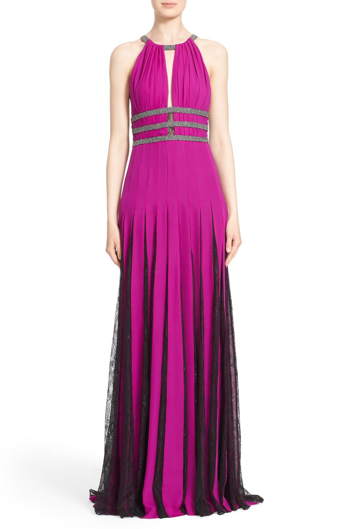 Badgley Mischka Couture Silk Halter Gown with Lace Pleats (Nordstrom ...