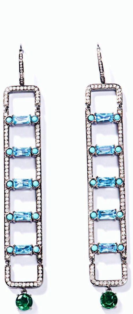 NIKOS KOULIS Diamond, Topaz, Turquoise, & Emerald Earrings