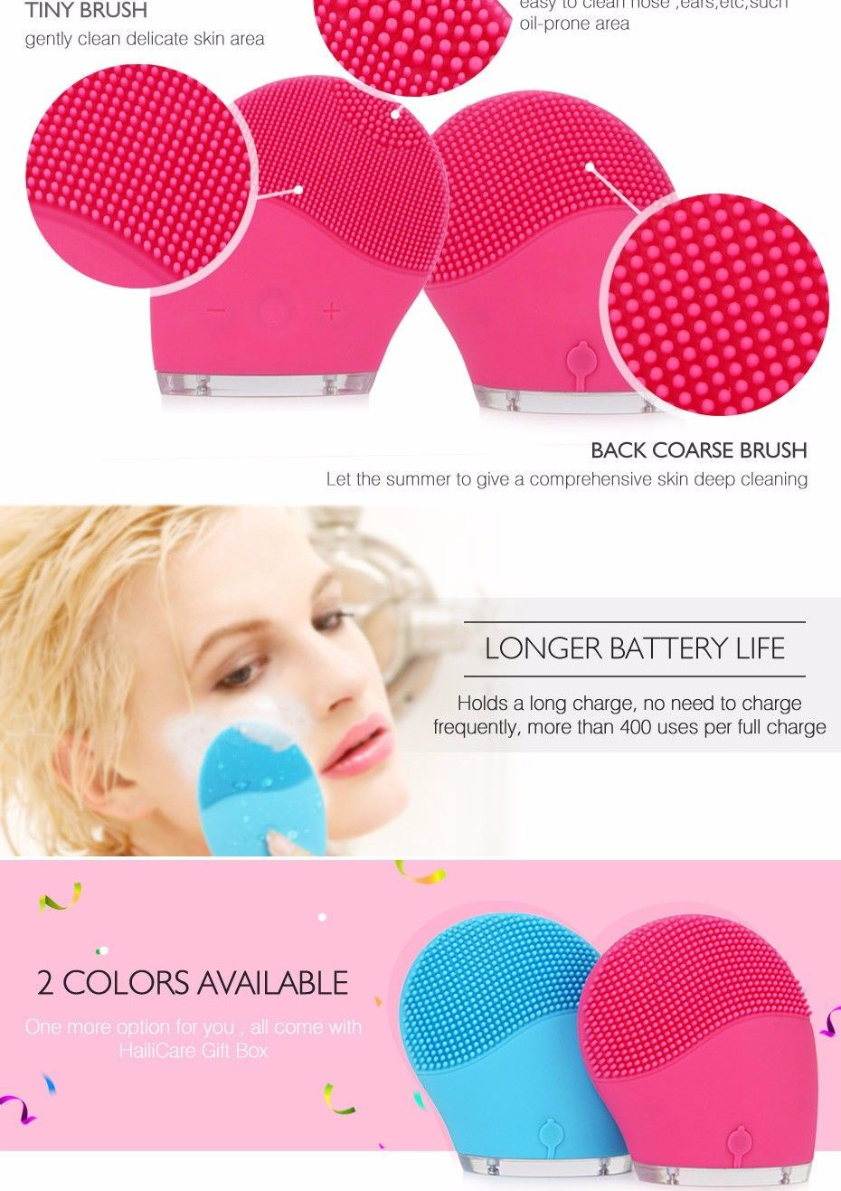 cool Hailicare Electric Face Cleansing Brush Facial