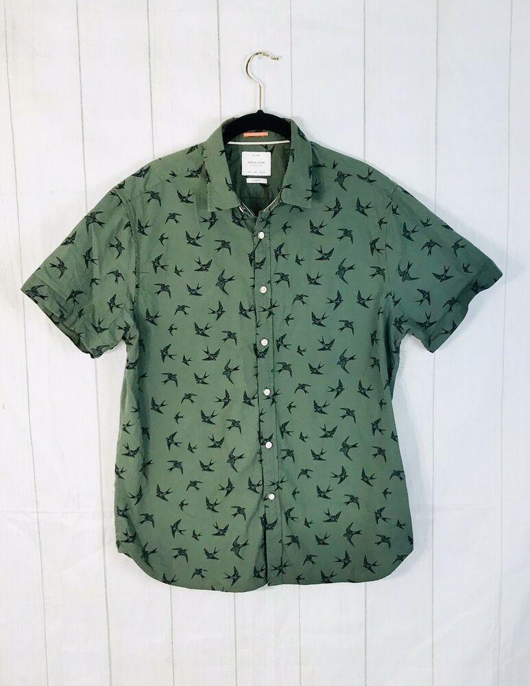 5493969232 Denim Flower Ricky Singh Mens L Slim Fit Short Sleeve Shirt Green Bird  Print Top