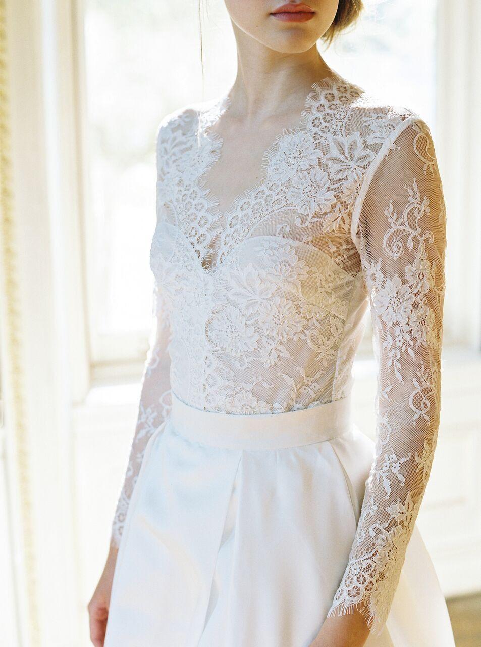 e7eca6e4bea Abbey lace long sleeve bridal top - Lace   Liberty