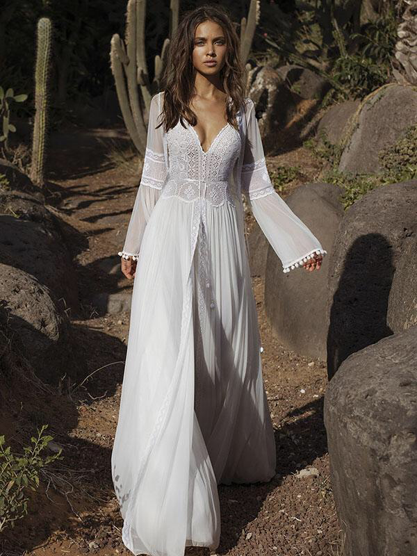 Lace V Neck Flared Backless Two Pieces Maxi Dress In 2020