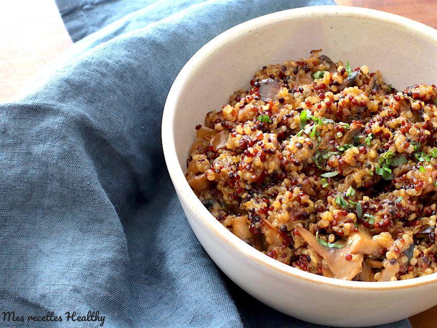 Risotto de quinoa au parmesan et champignon