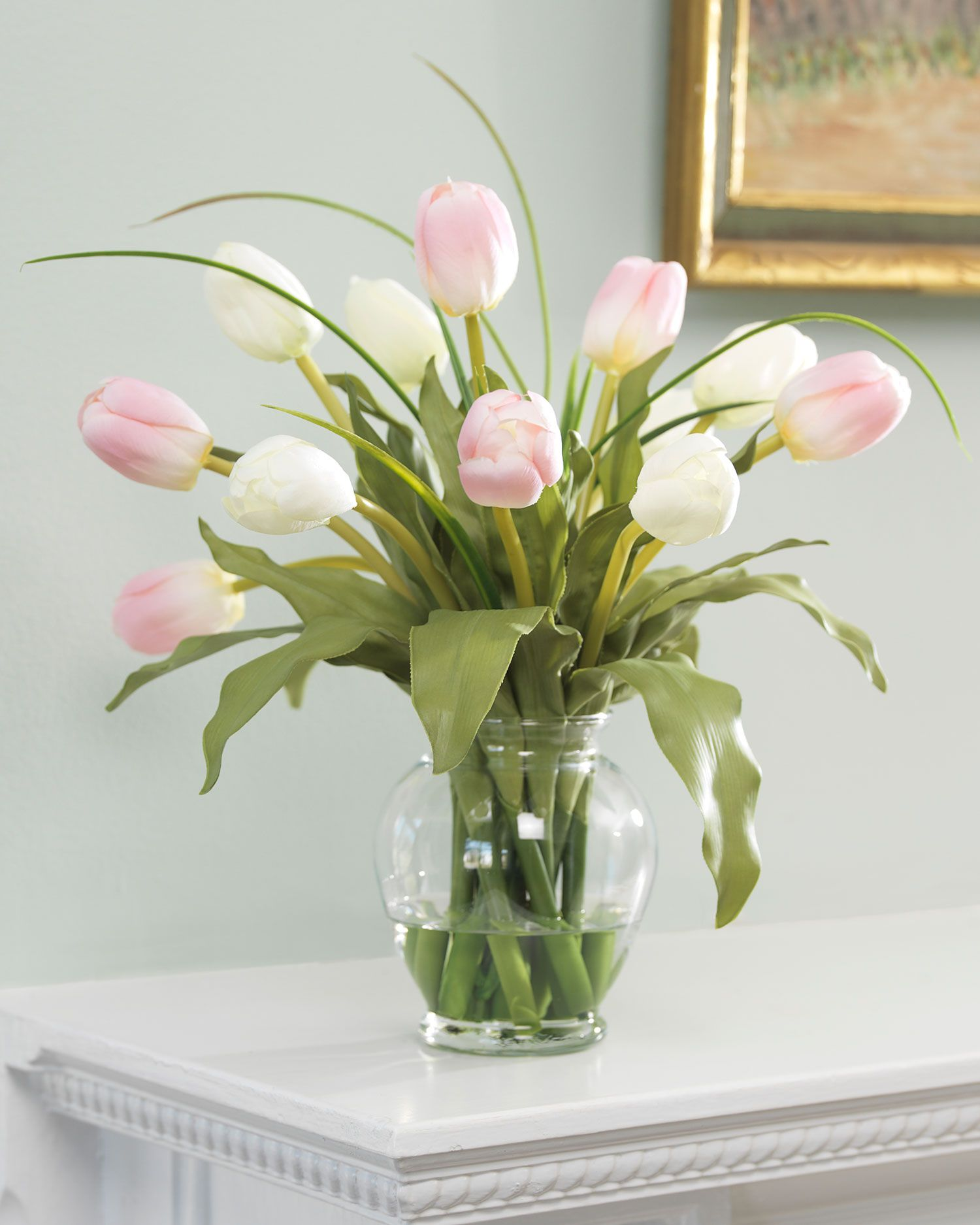 Mixed tulip silk flower arrangement grasses flower arrangements a pleasing combination of exuberance and gentility these pink white silk tulips make delightful reviewsmspy