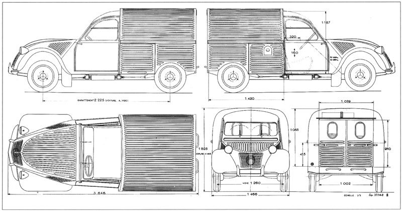 2cv camionnette dimensions