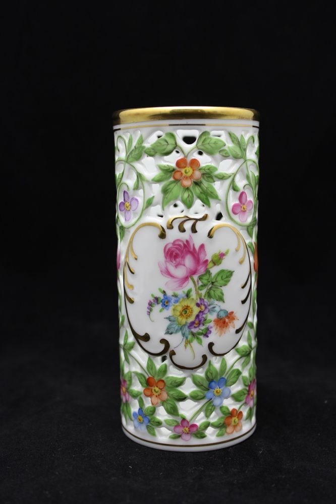 HEREND-HAND-PAINTED-PIERCED-BUD-VASE - The Herend Porcelain Manufactory is a Hungarian manufacturing company; specializing in luxory hand painted and gilded porcelain. Founded in 1826 it is based in the town of Herend, Hungary.
