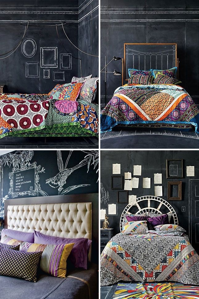 Captivating Upgrade Your Bedroom By Combining Chalkboard Walls With Vibrant Textiles. Photo Gallery