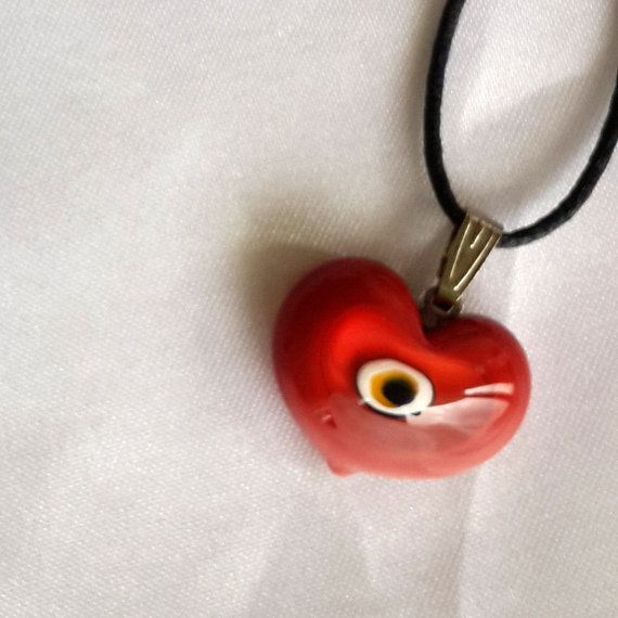 Glass Heart, Murano Glass, Bead Lampwork Pendant, red and mix colors