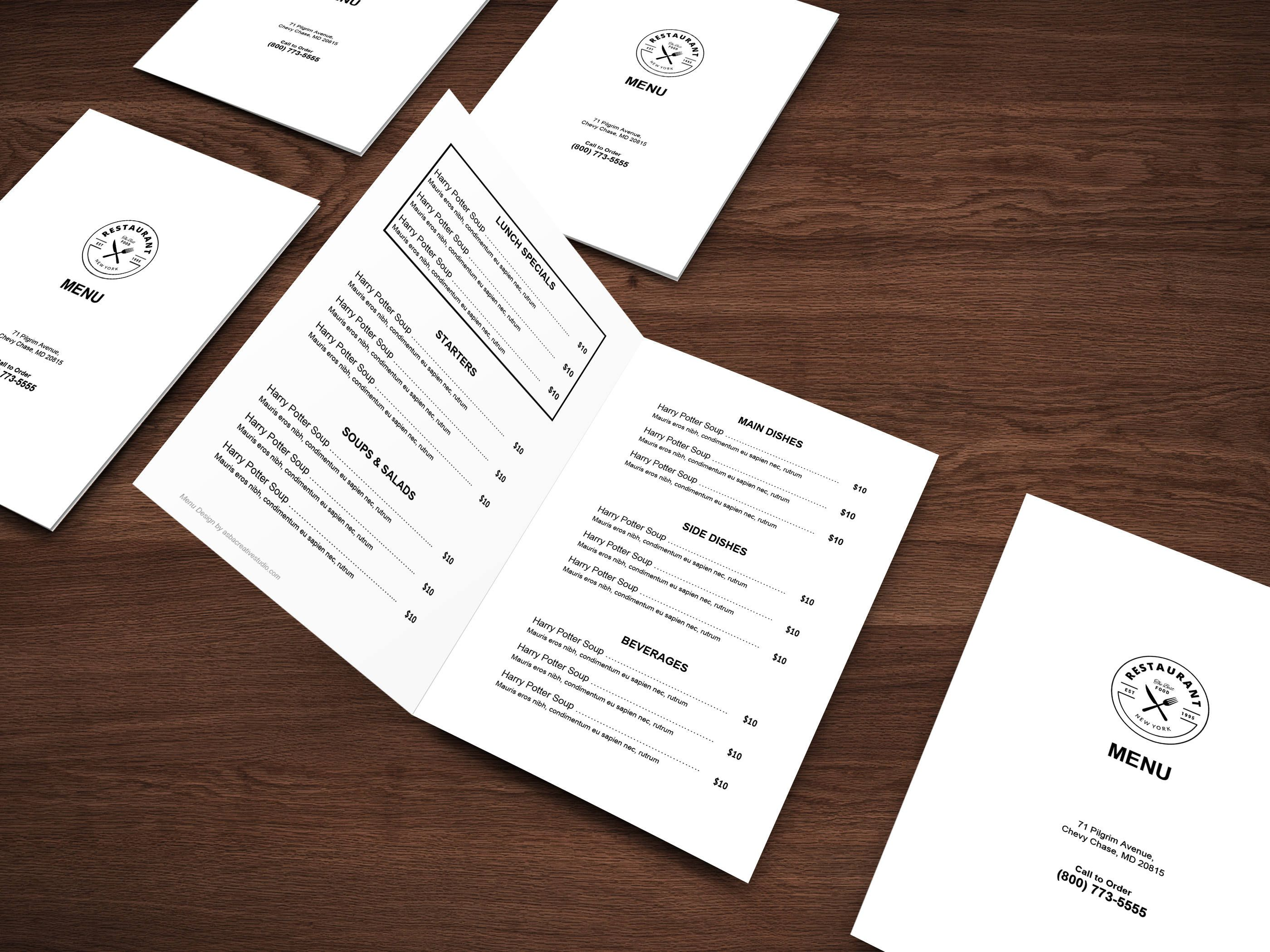 restaurant menu template menu template restaurant menu printable menu editable menu word menu google doc menu