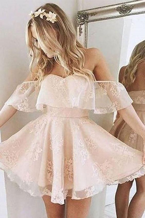 A Line Pink Off the Shoulder Sweetheart Tulle Above Knee Homecoming Dresses with Flowers