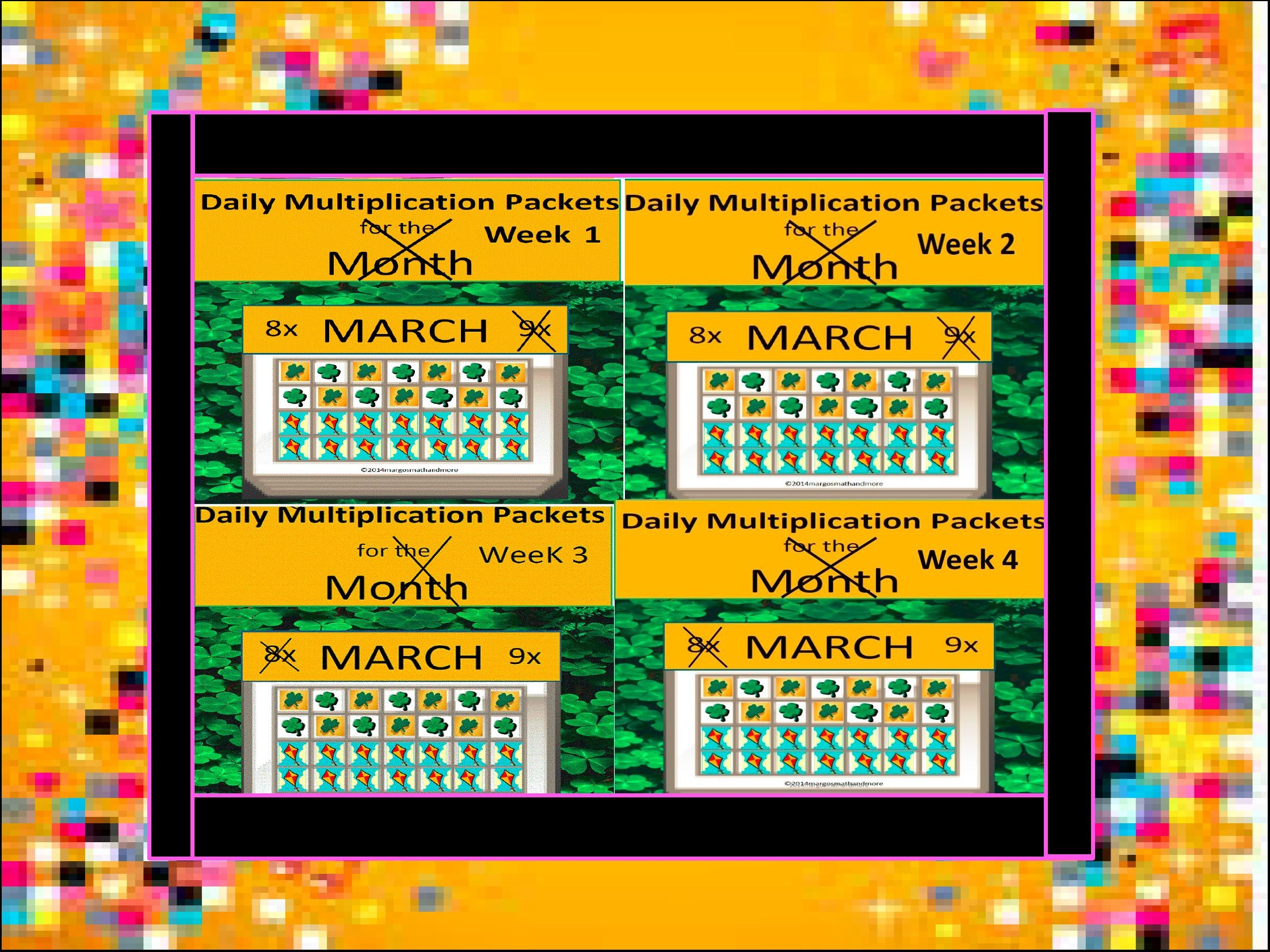 Bundle Daily Multiplication Packets For The Month Of