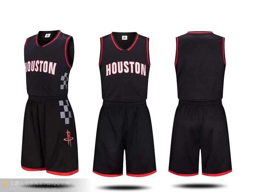 f41bd23cb Men s Houston Rockets Black Jersey Uniforms Cheap Basketball Kits ...