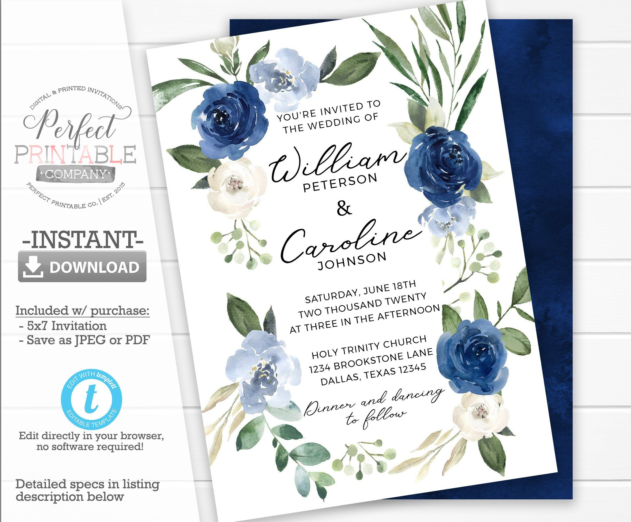 Floral Invitation Template Blue Www Miifotos Com