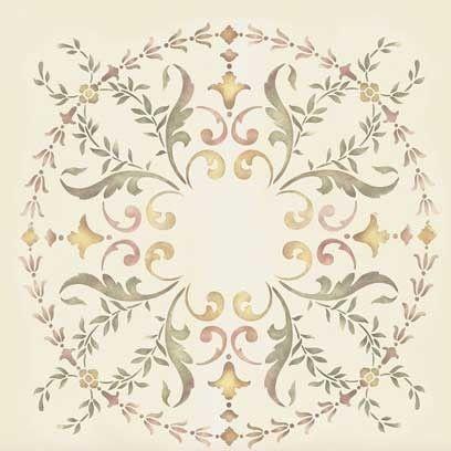 19th Century Ceiling Medallion Stencil Interior