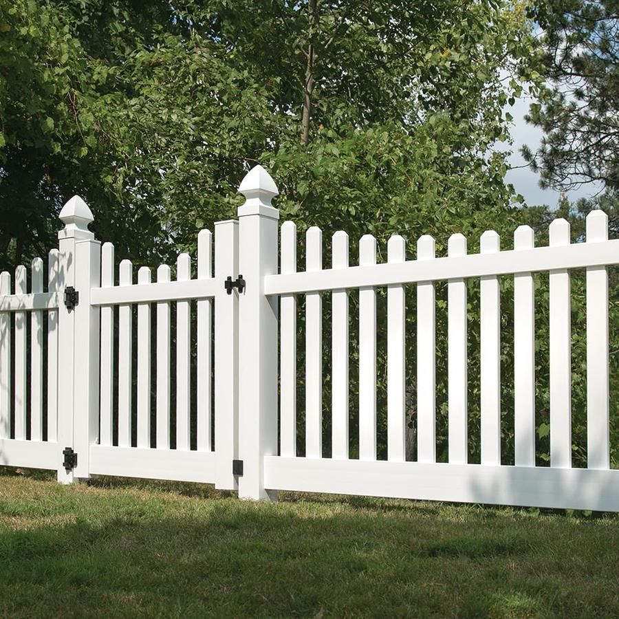 Freedom Actual 4 Ft X 7 56 Ft Ready To Assemble Lennox Scallop White Vinyl Scallop Panel At Lowes Com Vinyl Privacy Fence Vinyl Picket Fence Fence Design
