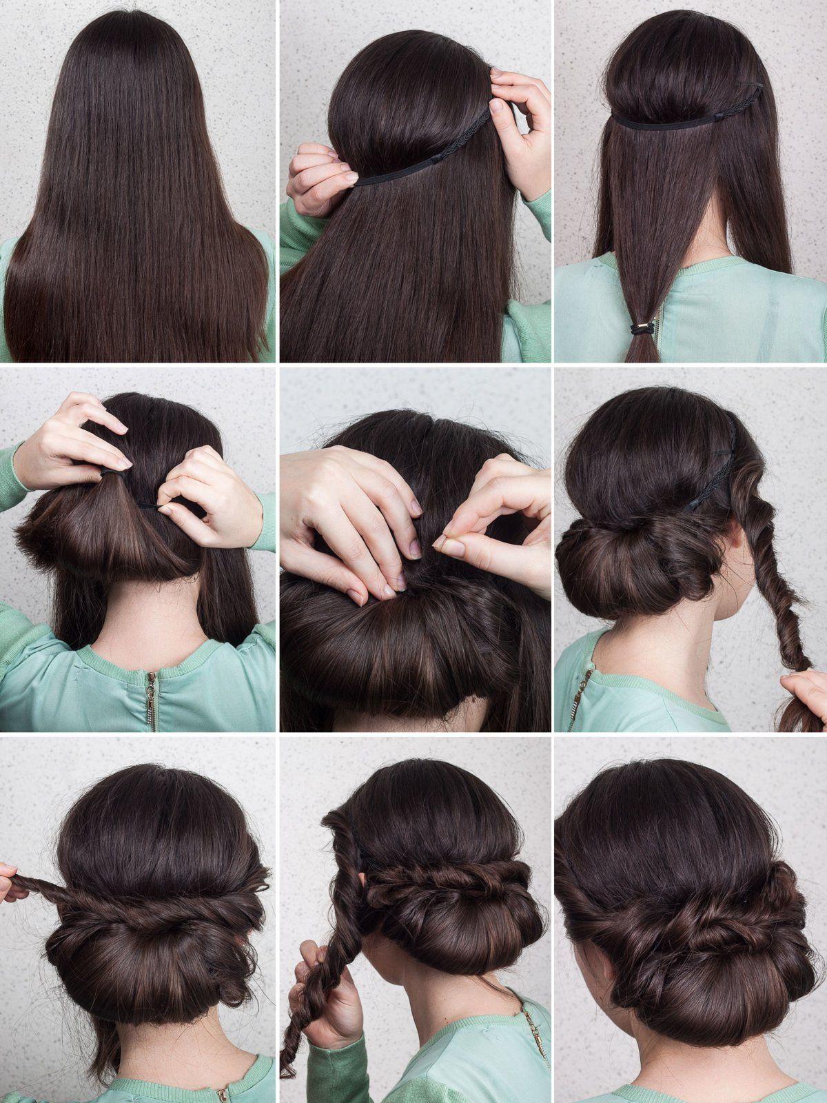 Eingedrehter Chignon  Haarband frisur, Haarband frisur anleitung