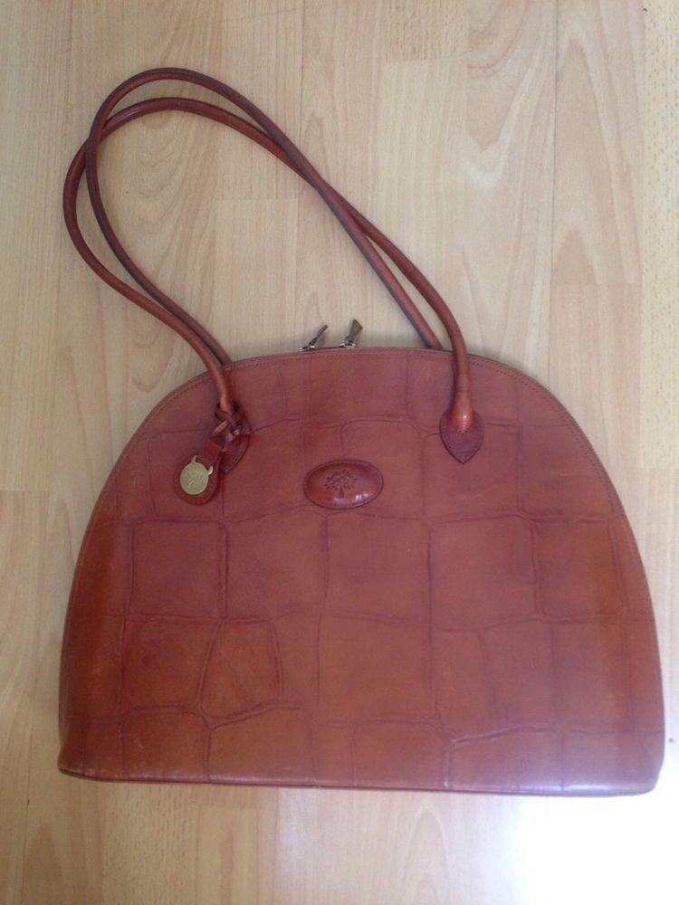 41c801740e Mulberry Tree Half Moon Leather Shoulder Hand Bag Brown Croc ...